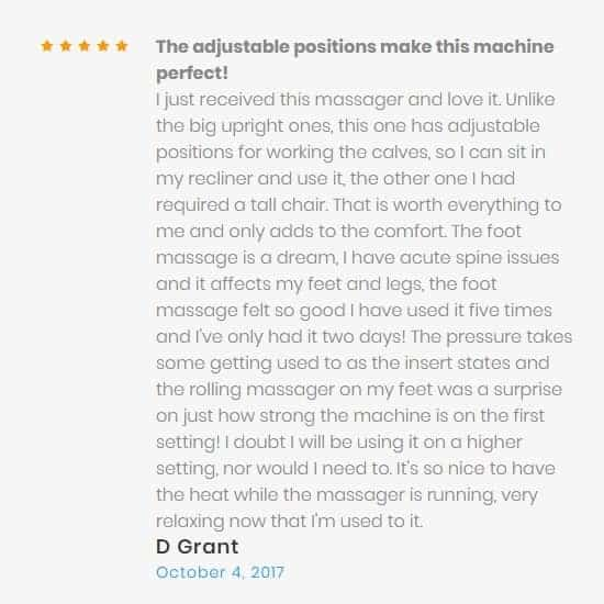 customer review highlighting how easy it is to adjust the position of the foot massager